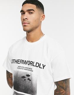 Topman - Graues T-Shirt mit Print auf der Vorderseite