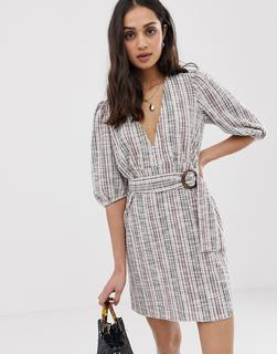 ASOS DESIGN - Bouclé-Minikleid mit Gürtel aus Jersey-Mehrfarbig