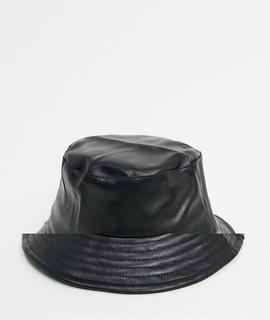 Bershka - Anglerhut aus Kunstleder-Schwarz