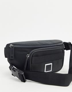 Boss - Pixel – Schwarze Gürteltasche mit großem Logo am Riemen