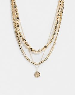 ASOS DESIGN - Mehrreihige Halskette in Gold mit Perlen und Münzenanhänger