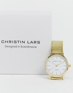 Christin Lars - Goldene, schmale Armbanduhr mit weißem Zifferblatt