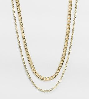 DesignB London Curve - Exclusive – Zwei breite und feine Halsketten im Multipack in Gold