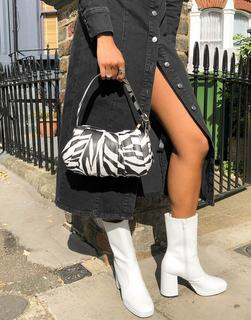 MANGO - Schultertasche mit Raffung und Zebraprint-Mehrfarbig