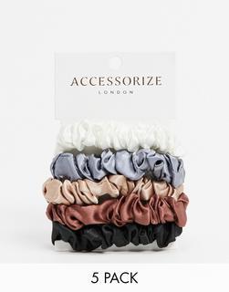Accessorize - Mehrfarbige Mini-Scrunchies im 5er-Pack
