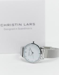 Christin Lars - Schmale, silberneArmbanduhr mit weißem Zifferblatt