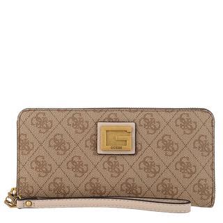 guess - Portemonnaie - Valy Large Zip Around Wallet Latte - in beige - für Damen