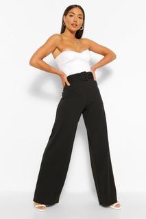 boohoo - Womens Scuba Crepe Belted Wide Leg Trouser - Black - 34, Black