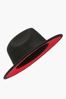 boohoo - Womens Red Under Trim Detail Fedora - Black - One Size, Black