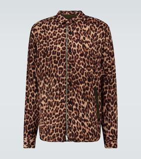 Sacai - Hemdjacke Leopard Shrivel aus Wolle