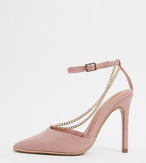 ASOS DESIGN - Priscilla – Spitze High-Heels mit Kettendetail in Zartorsé, weite Passform-Beige