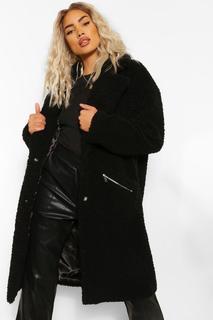 boohoo - Womens Mantel Aus Teddy-Fake-Fur Mit Taschendetail - Schwarz - 34, Schwarz