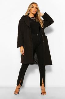 boohoo - Womens Mantel In Wolloptik Mit Oversized Kragen - Schwarz - 34, Schwarz