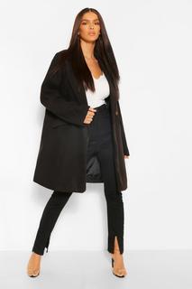 boohoo - Womens Eng Anliegender Mantel In Wolloptik Mit Taschendetail - Schwarz - 36, Schwarz