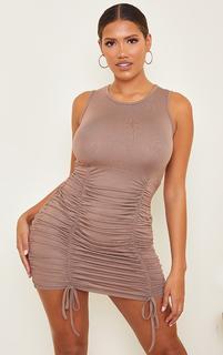 PrettyLittleThing - Shape Mocha Jersey Ruched Skirt Sleeveless Bodycon Dress, Brown
