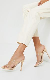 PrettyLittleThing - Nude Double Clear Strap Mule High Heel, Pink