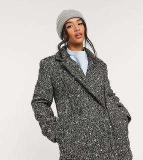ASOS Petite - ASOS DESIGN Petite – Schwarz-weißer Mantel mit Ziernähten-Mehrfarbig