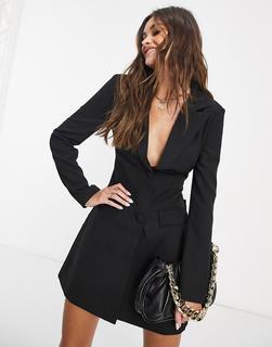 4th + Reckless - Schwarzes Blazer-Kleid mit Zierausschnitt hinten