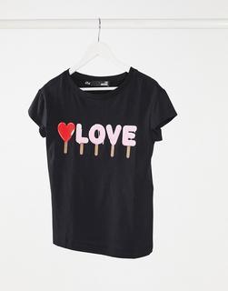 Love Moschino - Schwarzes T-Shirt mit Love-Logo