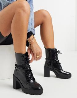 London Rebel - Schwarze Stiefel mit Schnürung und dicker Plateausohle