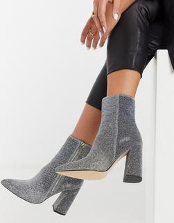 London Rebel - Spitze, silbern glitzernde Ankle-Boots mit hohem Absatz-Mehrfarbig