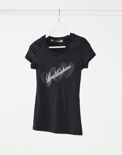 Love Moschino - T-Shirt mit dreifachem Logo in Schwarz