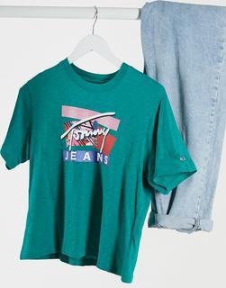 Tommy Jeans - T-Shirt mit Markenlogo in Grün
