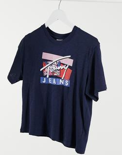 Tommy Jeans - Marineblaues T-Shirt mit Markenlogo-Navy