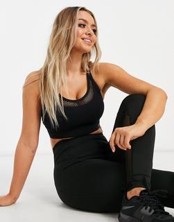 Lorna Jane - Schwarzer Sport-BH mit Netzstofflage und überkreuzten Rückenträgern