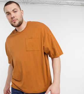 ASOS DESIGN - Plus – Übergroßes T-Shirt mit Tasche in verwaschenem Dunkelorange-Beige