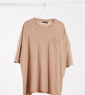 ASOS DESIGN - Plus – Oversized-T-Shirt mit Tasche in verwaschenem Braun-Beige