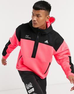 adidas Performance - adidas Training – Oberteil mit kurzem Reißverschluss und Kontrasteinsätzen, in Rosa
