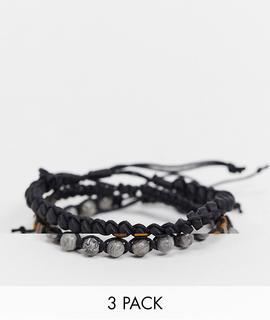 ASOS DESIGN - Perlenarmbänder im Set mit Halbedelsteinen in Brauntönen-Mehrfarbig