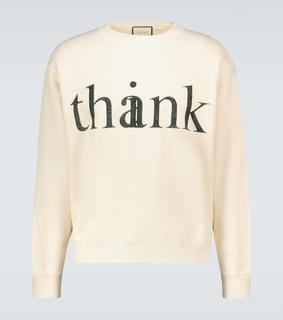 Gucci - Sweatshirt Think/Thank aus Baumwolle