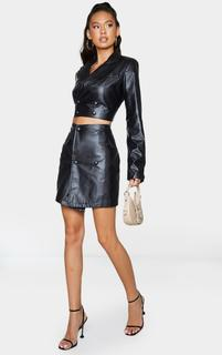 PrettyLittleThing - Black PU Double Breasted Fitted Blazer, Black