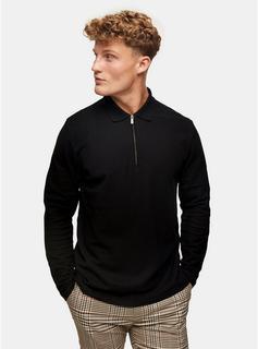 Topman - Mens Black Pique Long Sleeve Polo, Black