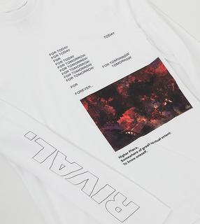 Collusion - Unisex – Langärmliges, weißes Oversize-T-Shirt mit Print
