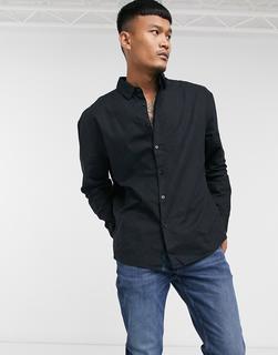 ASOS DESIGN - Übergroßes Hemd aus Leinen im Stil der 90er in Schwarz
