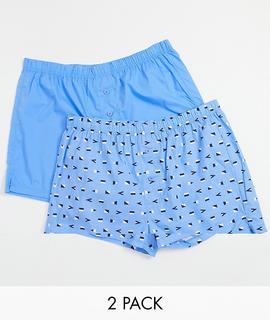 ASOS DESIGN - 2er-Set gewebte Boxershorts-Blau