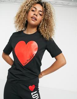 Love Moschino - Schwarzes T-Shirt mit Herz-Logo