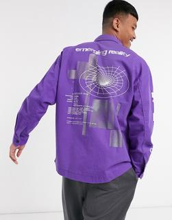 Bershka - Bedruckte Hemdjacke aus Jeansstoff in Violett