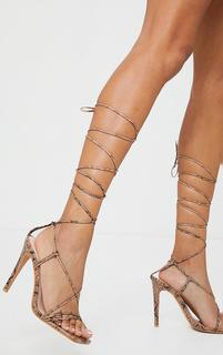 PrettyLittleThing - Nude Pu Barely There Lace Up High Heels, Pink