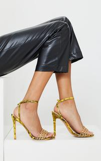 PrettyLittleThing - Yellow Snake Triple Chain Front High Heels, Yellow