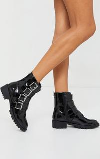 PrettyLittleThing - Black Patent Pu Buckle Strap Cleated Sole Ankle Boots, Black
