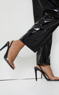PrettyLittleThing - Black Clear Strap Studded High Heels, Black