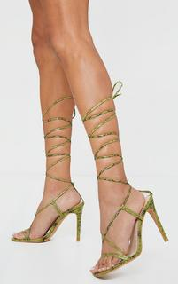 PrettyLittleThing - Khaki PU Barley There Lace Up High Heels, Green