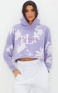 PrettyLittleThing - Lilac Slogan Washed Crop Hoodie, Purple