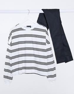 ASOS DESIGN - Kastiges, langärmliges Shirt in Weiß und Schwarz gestreift-Mehrfarbig