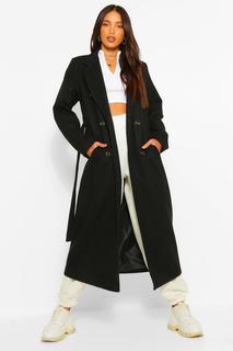 boohoo - Womens Tall Zweireihiger Longline-Mantel In Wolloptik - Schwarz - 40, Schwarz