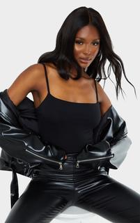 PrettyLittleThing - Tall Black Square Neck Basic Thong Bodysuit, Black